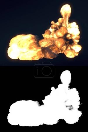 Fireball isolated on dark background. Close up. 3d rendering