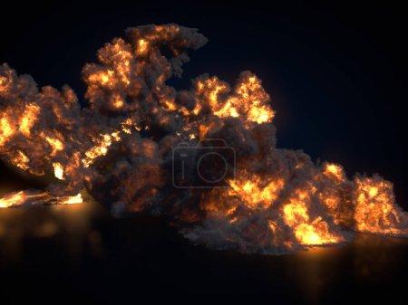 Photo pour Grande boule de feu isolée sur fond sombre. Ferme là. Rendu 3d - image libre de droit