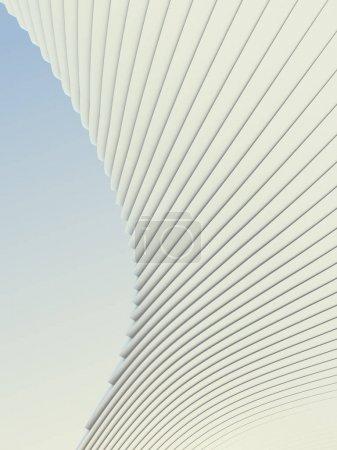White stripe pattern futuristic background. 3d render illustration