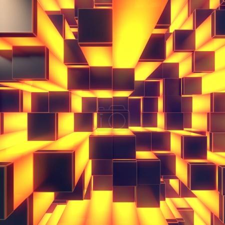 Abstract cubes background. 3d render illustration