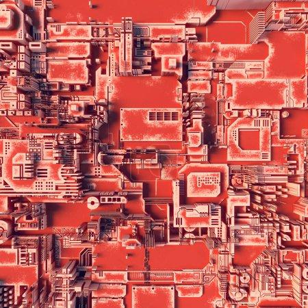 Abstract orange futuristic techno pattern. Digital 3d illustration
