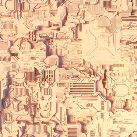 Abstract futuristic techno pattern. Digital 3d illustration
