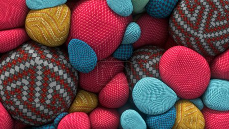 3D rendering of colored floating spheres with a knitted texture. Abstract composition