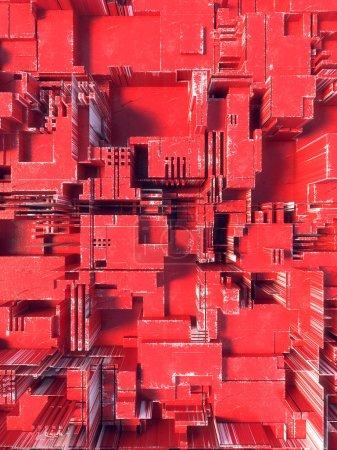 Abstract red futuristic techno pattern. Digital 3d illustration