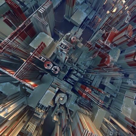 Photo pour Motif géométrique futuriste coloré de haute technologie. Paysage urbain abstrait. Illustration 3d - image libre de droit