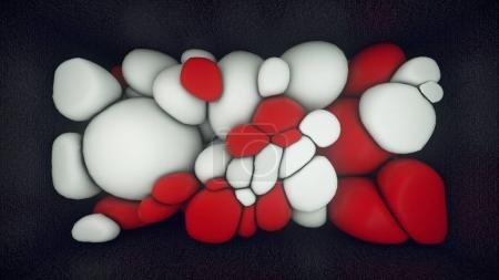 3D rendering of white and red floating spheres. Abstract composition