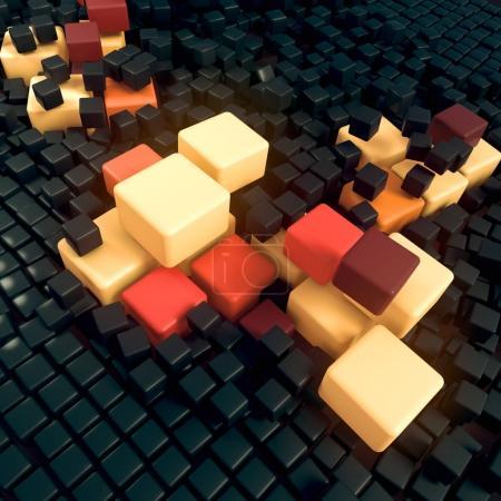 Photo pour Paysage abstrait de fond de boîtes en trois dimensions. De grandes boîtes colorées en écartent d'autres. Rendu 3d - image libre de droit