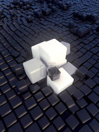 Abstract landscape of three-dimensional boxes background. 3d rendering