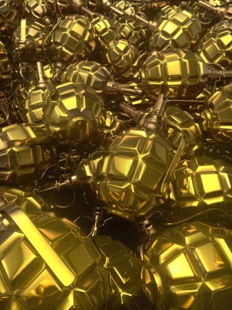 Abstract golden glossy metal hand grenades backgro...
