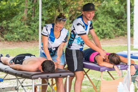 Regensburg, Bavaria, Germany, August 06, 2017, 28th Regensburg Triathlon 2017, Massage station for the athlete