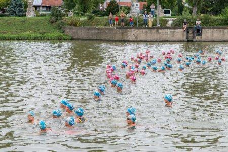 Regensburg, Bavaria, Germany, August 06, 2017, 28th Regensburg Triathlon 2017, Female swimmer preparing for the start