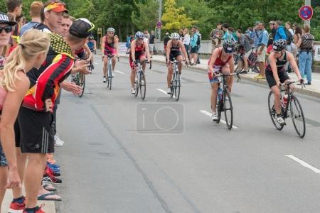 Regensburg, Bavaria, Germany, August 06, 2017, 28th Regensburg Triathlon 2017, Bike racer on the race track