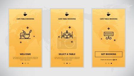 Illustration for Onboarding design concept for cafe table booking service. Modern vector outline mobile app design set of a table booking services. Onboarding screens for a table booking online - Royalty Free Image