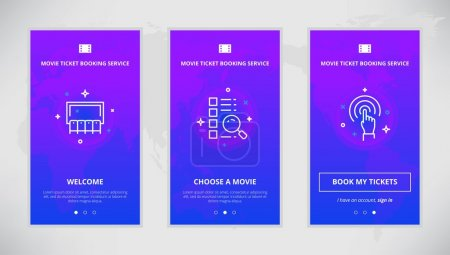 Illustration for Onboarding design concept for movie ticket booking service. Modern vector outline mobile app design set of movie ticket booking services. Onboarding screens for movie tickets booking on-line - Royalty Free Image