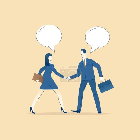 Illustration for Business illustration of business man and business woman in suits and with briefcases shake hands with each other. Business template with space for text - Royalty Free Image