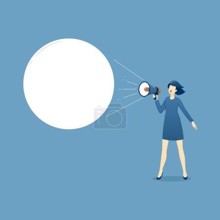 Illustration pour Illustration d'affaires de la femme d'affaires en robe pour travailler avec mégaphone criant une annonce ou slogan de marketing. Modèle d'affaires avec un espace pour le texte - image libre de droit