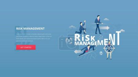 Illustration pour Risque financier gestion héros banne - image libre de droit