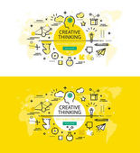 Creative Thinking. Flat line color hero images and hero banners