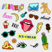 Fashion patch badges Big set Stickers pins patches and handwritten notes collection in cartoon 80s-90s comic style Trend Vector illustration isolated