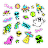 Pop art set with fashion patch badges and different ufo elements Stickers pins patches quirky handwritten notes collection 80s-90s style Trend Vector illustration isolated