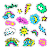 Pop art set with fashion patch badges and different sky elements Stickers pins patches quirky handwritten notes collection 80s-90s style Trend Vector illustration isolated