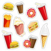 Set of colorful cartoon fast food icons on white background Isolated vector illustration Fashion patch badges stickers pins patches quirky 80s-90s style