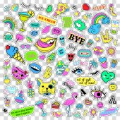 Fashion quirky cartoon doodle patch badges with cute elements Isolated vector on transparent background Set of stickers pins patches in comic style 80s 90s