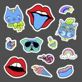 Fashion quirky cartoon doodle patch badges with cute elements Set of stickers in comic style 80s 90s Cats lips dog and rainbow