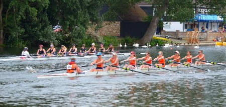 Ladies coxed eights rowing in competition on the river ouse at St Neots