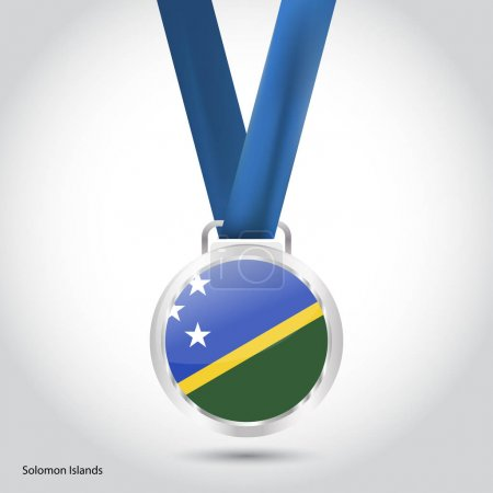 Solomon Islands flag in silver medal