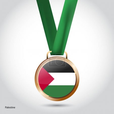 Palestine flag in bronze medal