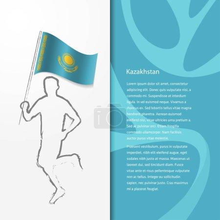 brochure with man holding Kazakhstan flag