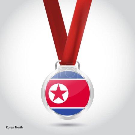 North Korea flag in silver medal