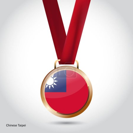 Taiwan flag in bronze medal