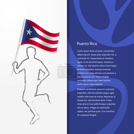 brochure with man holding flag