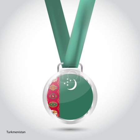 Turkmenistan flag in silver medal