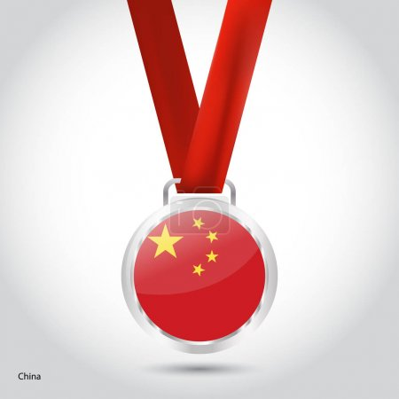 China flag in silver medal