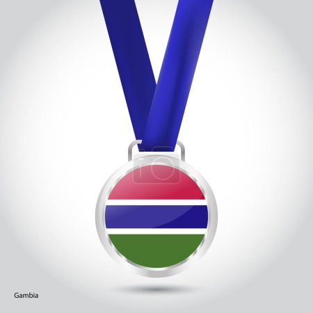 Gambia flag in silver medal