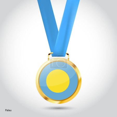Palau flag in golden medal