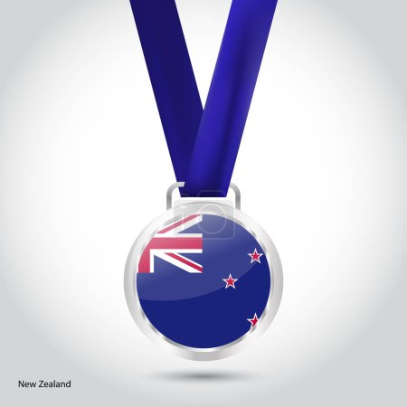 New Zealand flag in silver medal
