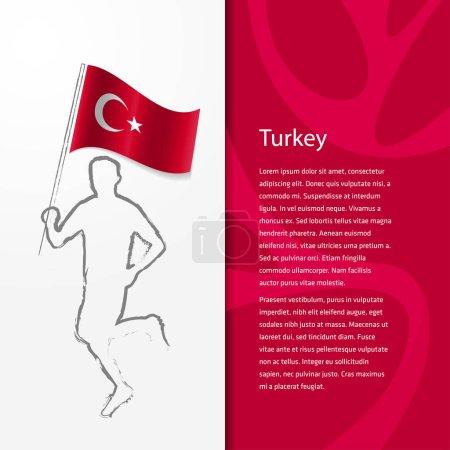 brochure with man holding Turkey flag