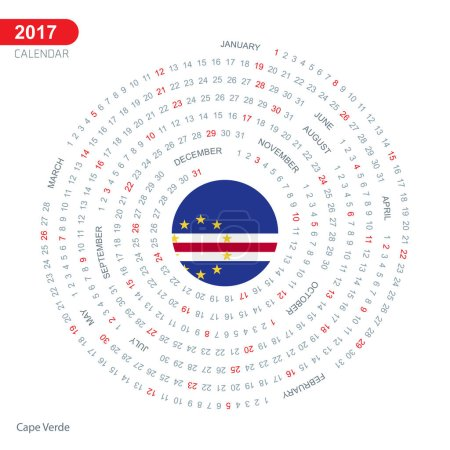 2017 calendar with Cape Verde flag