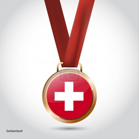 Switzerland flag in bronze medal