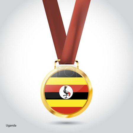 Uganda flag in golden medal