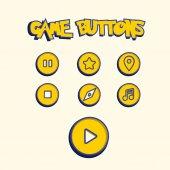 Yellow pokemon web icons set vector illustration