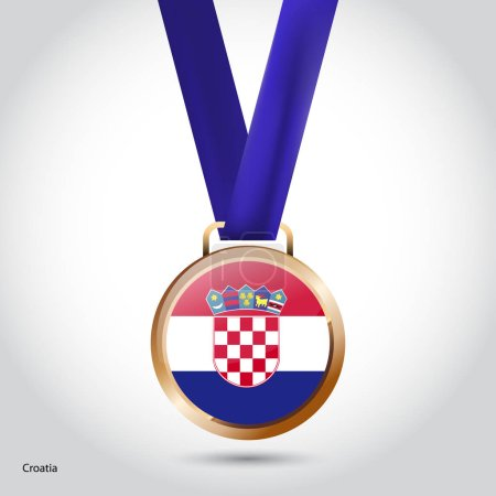 Croatia flag in bronze medal