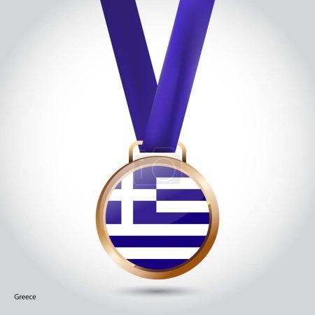 Greece flag in bronze medal