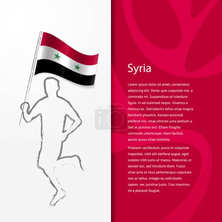 Brochure with man holding Syria flag