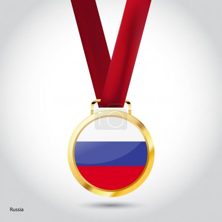 Russia flag in golden medal
