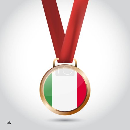 Italy flag in bronze medal